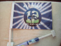 (2) Pack 12th Man Seattle Seahawks Car Flags 12x18 Very Durable Hi-way Strong