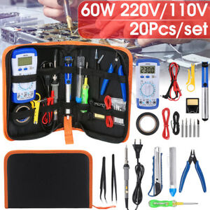 20Stk-220-110V-60W-Elektronikset-Werkzeugset-Loetkolben-Loetset-Multimeter-Set