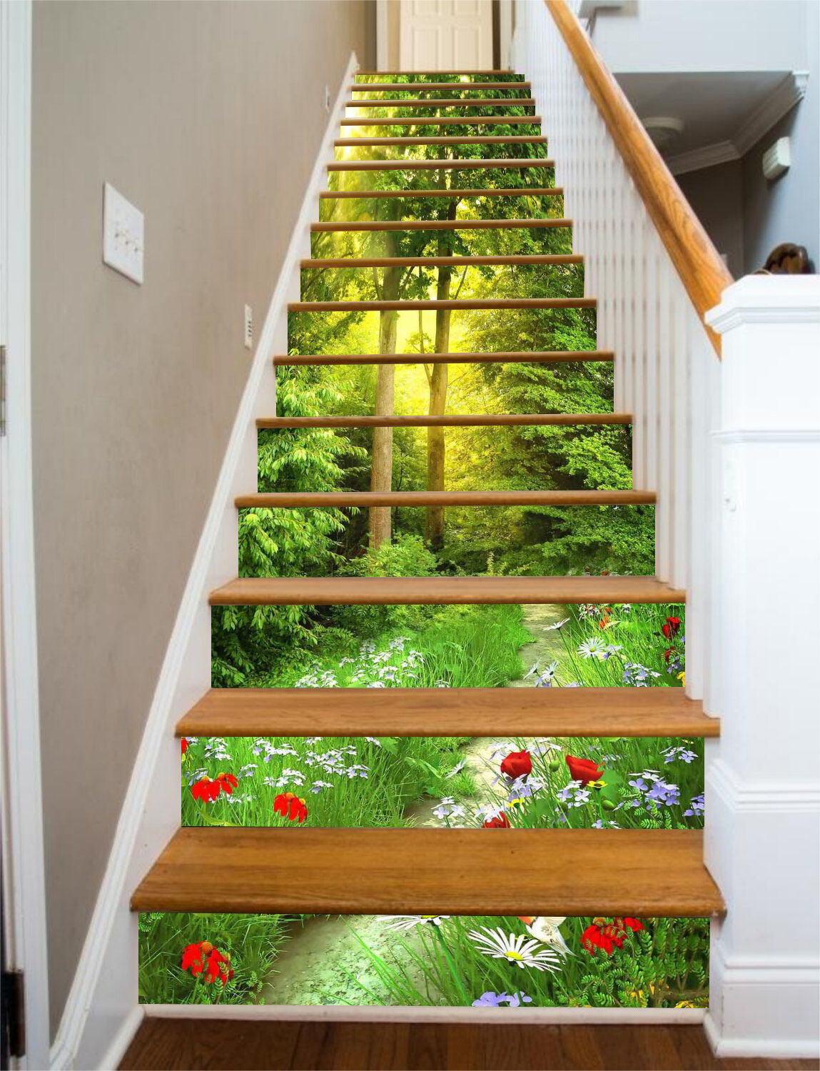 3D Forest Lawn 7 Stair Risers Decoration Photo Mural Vinyl Decal Wallpaper UK