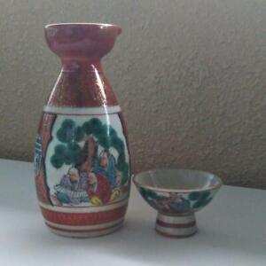 Japanese-Kutani-Ware-Sake-Bottle-and-Cup-Set-Tokkuri-Sakazuki