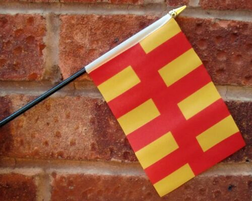"NORTHUMBERLAND BRITISH PACK OF 12 SMALL HAND FLAGS flag 6/""x4/"" with 10/"" pole"