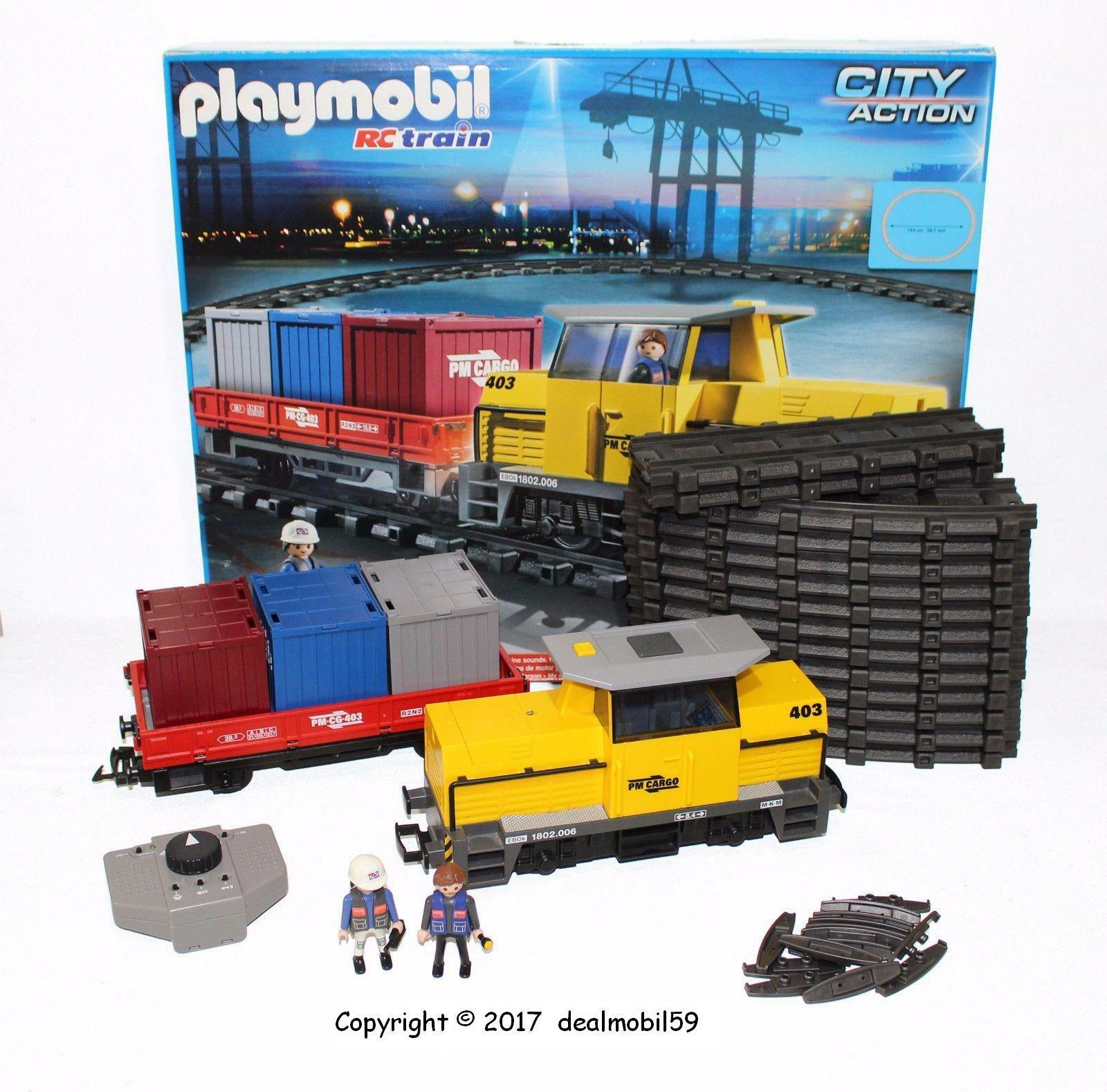 PLAYMOBIL® 5258 TRAIN RC LOCO  SON  LUMIÈRE  + 12 rails Courbes + Clips + scatola  8   grande sconto