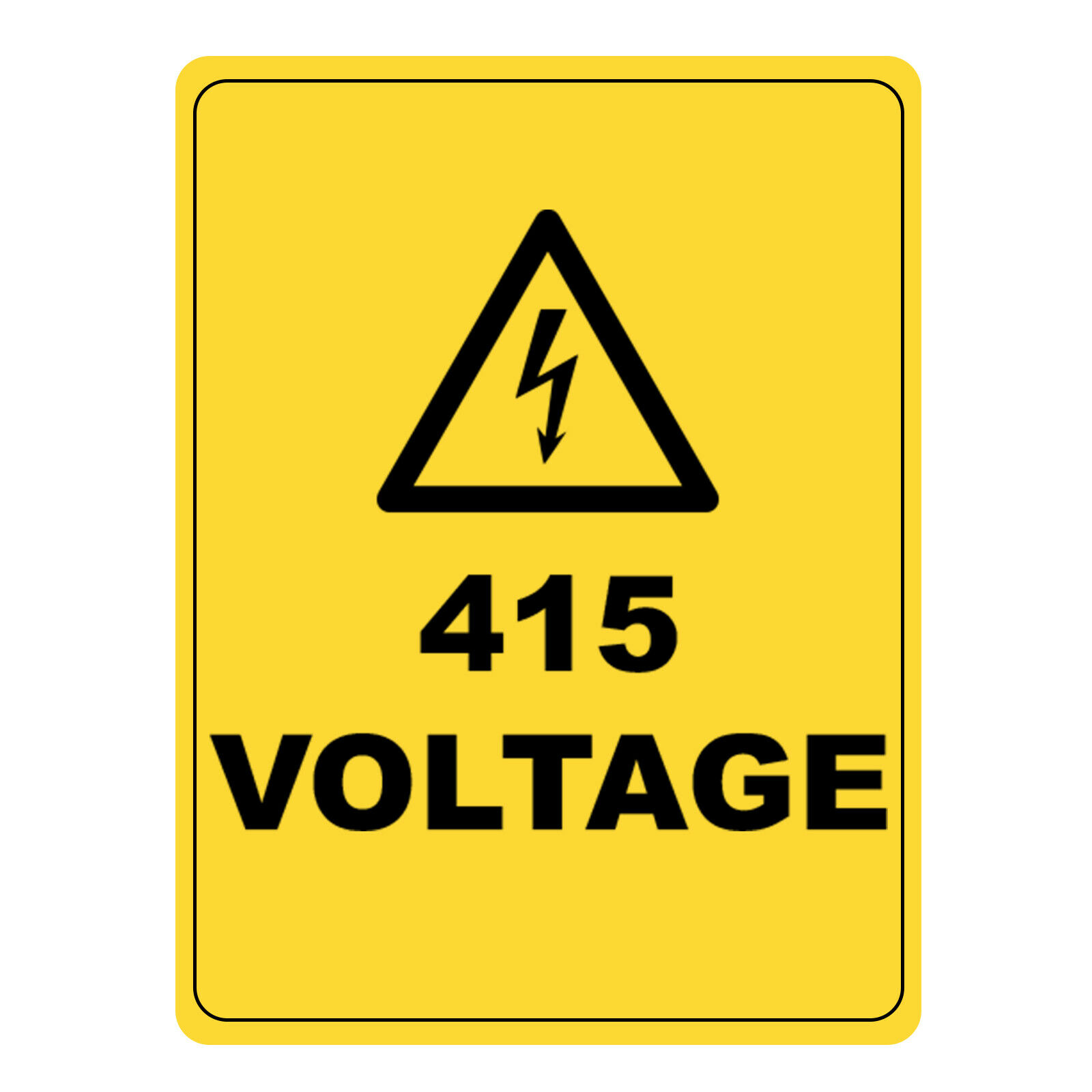 Caution Aluminium 415 Voltage Electrical Hazardous Health & Safety Warning Sign