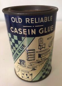 Vintage-OLD-RELIABLE-CASEIN-GLUE-11-oz-Round-4-5-034-Tall-Tin-Ad-Can