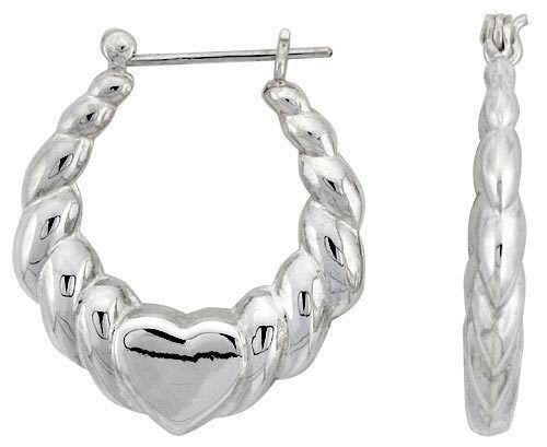 "925 Sterling Silver High Polished Heart Hoop Earrings 1 3//16/"" Long"