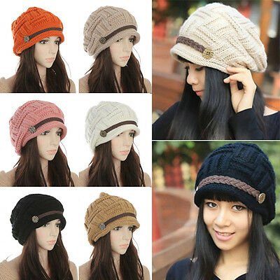 Womens Warm Winter Braided Crochet Knit Baggy Slouchy Ski Hat Cap Lady Beret