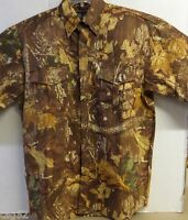 Wfs Shirt Camo Mossy Oak L-sleeve Top Brown Autumn Leaf Size M Button Front
