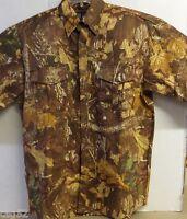 Wfs Shirt Camo Mossy Oak L-sleeve Top Brown Autumn Leaf Size M Button Front