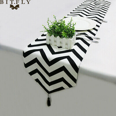 Striped Pattern Table Runner Cover Chevron Polyester/&Cotton Zigzag Stripe