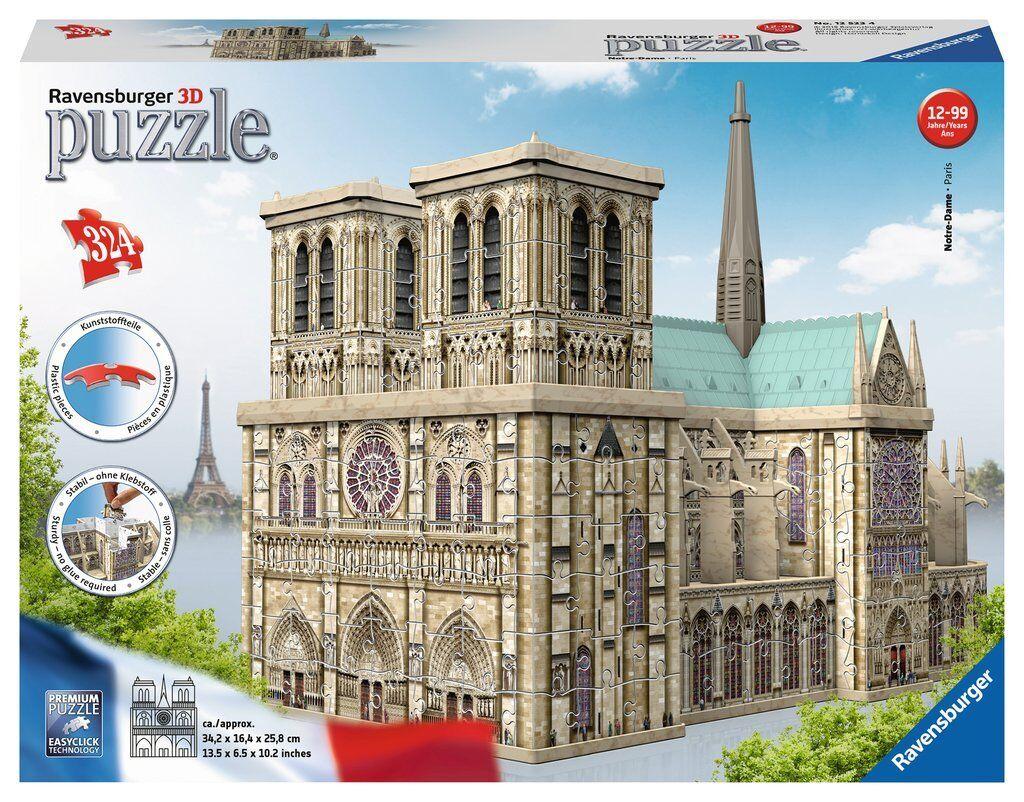 NEW  Ravensburger 3D Puzzle Notre Dame Paris 324 piece jigsaw puzzle