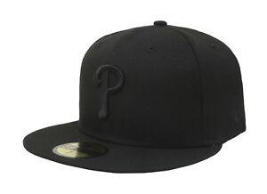 New-Era-59Fifty-MLB-Cap-Philadelphia-Phillies-Mens-Black-on-Black-Fitted-Hat