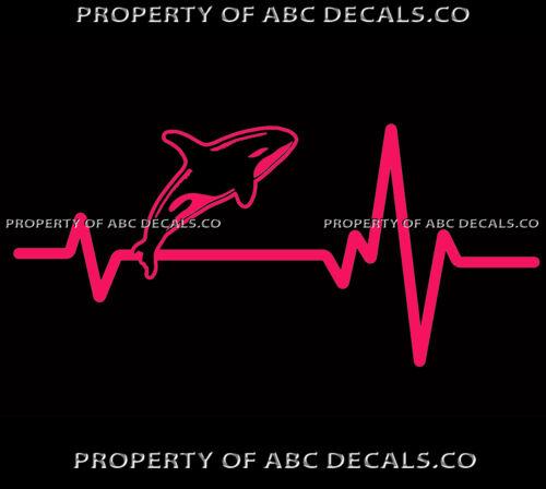 Vrs Herz Beat Line Killer Wal Ocean Orca Delphin Mammal Jump Kfz Vinyl Aufkleber