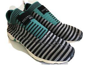 Adidas-Men-EQT-Support-Sock-Primeknit-Shoes-B37522-Black-Grey-Green-Size-9-5
