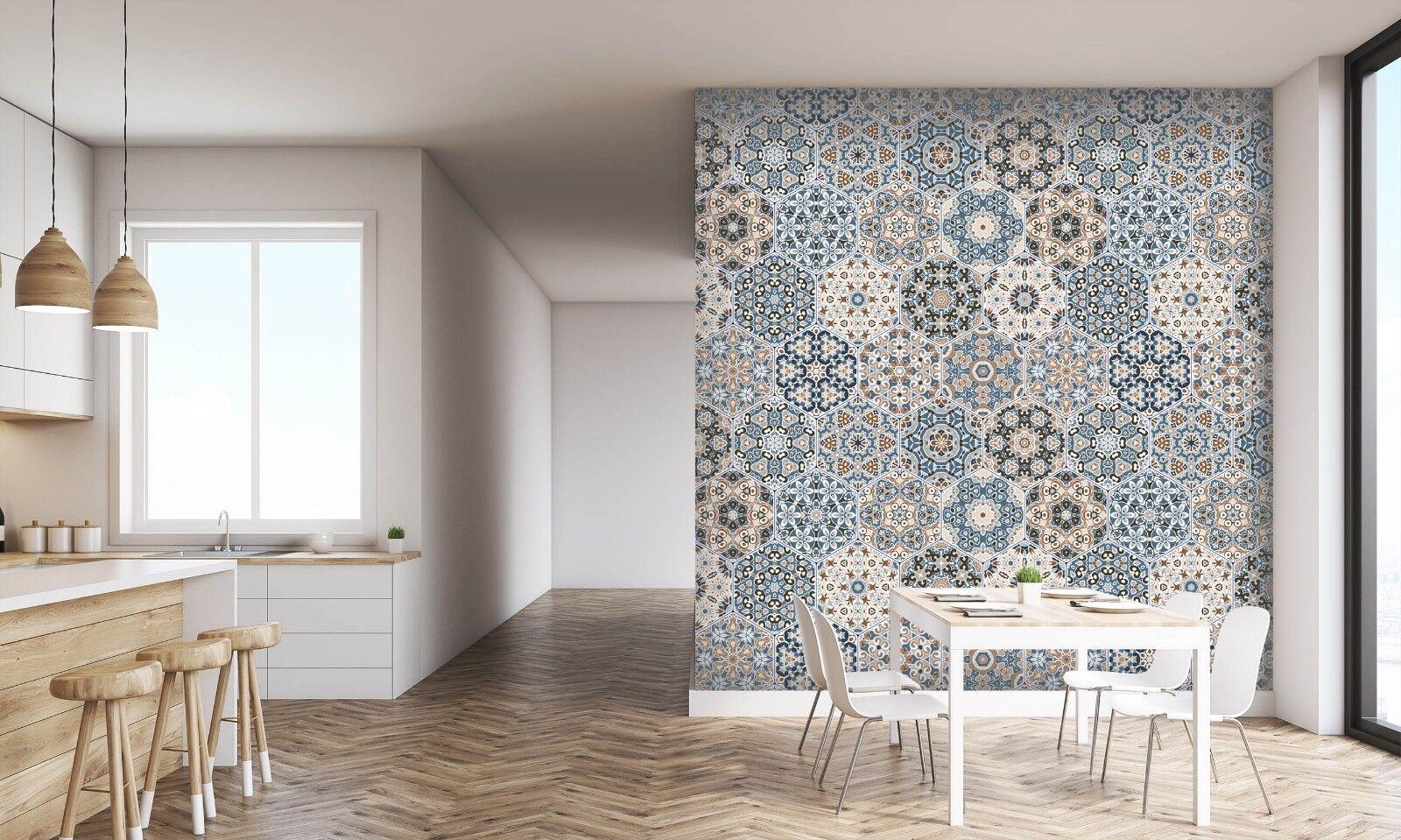 3D Art Floral Hexagon 2 Texture Tiles Marble Wall Paper Decal Wallpaper Mural AJ