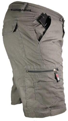 Mens Plain Elasticated Lightweight Shorts Cargo Combat Multi Pocket Cotton M-3XL