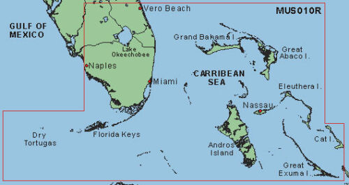 GARMIN BLUECHART SOUTHEAST FLORIDA MUS010R DATA CARD MARINE CHART 010-C0024-00