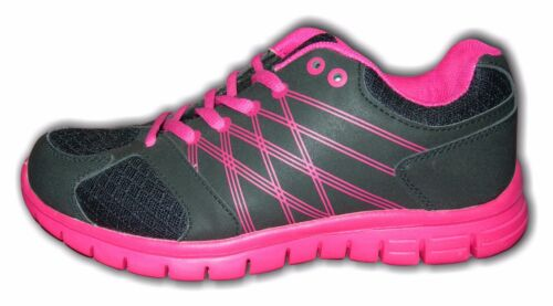 Ladies Girls Trainers Ulta-Light Lace Up Black//Pink ENFORCER Sizes 4-8 Available