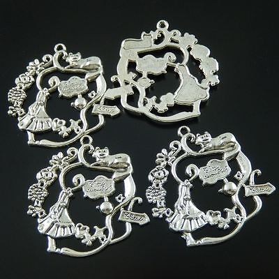 Antiqued silver Girl in Wonder World charm pendant, where should I go ? 10pcs