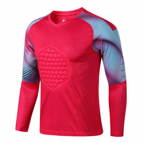 Mens Soccer Goalkeeper T-Shirt Pants Sponge Protector Suit Training Uniform Sets