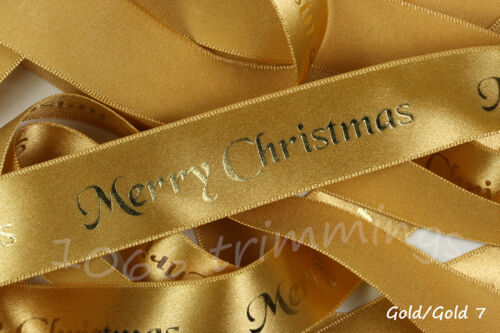 Merry Christmas Ribbon With Foil Print by Berisfords 10mm /& 25mm Widths