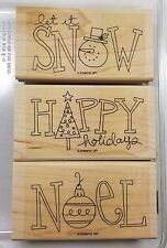 Stampin' Up! Big On Christmas Wood Mount Rubber Stamp Snow Tree Noel Ornament