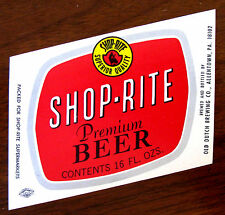 Shop Rite Supermarkets by Old Dutch Brewing SHOP-RITE PREMIUM BEER label PA 16oz