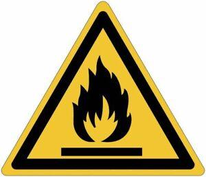 """Cartelli pittogrammi adesivi di pericolo ISO 7010 """"Materiali infiammabili""""  W021"""