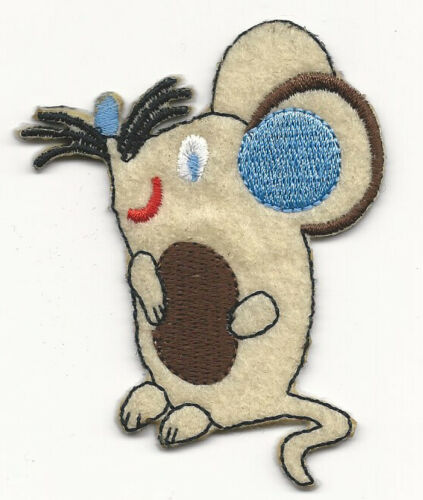 """2.5X3/"""" Mouse IRON ON SEW ON PATCH cream mouse gray rat cute blue ears whiskers"""