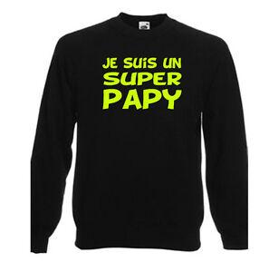 T-shirt noir homme manches longues fruit of the loom JE SUIS UN SUPER PAPY coton