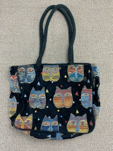 Laurel Burch Bag Cats Cat Faces Tote Purse Embroid