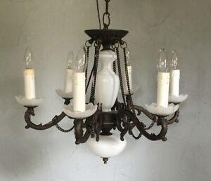 Vintage Suspension éclairage antique style colonial chandelier laiton verre