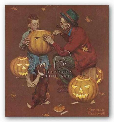 CHILDRENS ART PRINT Ghostly Gourds Norman Rockwell
