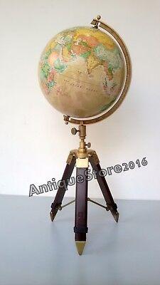 "Nautical Replogle World GLOBE 12/"" ATLAS MAP Antique Finish Vintage Tripod Stand"