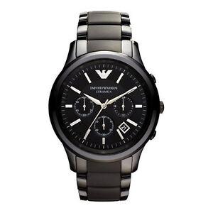 Emporio-Armani-Uhr-AR1452-CERAMICA-Keramik-Schwarz-Herren-Chronograph-Datum-NEU