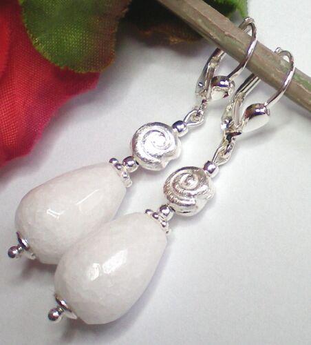 Jd-02S Lange Weiße Jade Ohrringe Tropfen 10 x 14 mm facettiert 925 Silber Nr
