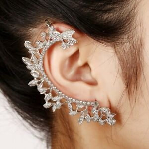 925-Silver-AAA-CZ-Hypoallergenic-Ear-Crawler-Cuff-Earrings-Climber-Studs-Leaf
