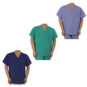 Unisex Medical Nurse Reversible Uniform Scrubs Navy White Top Pants Set XS-3XL