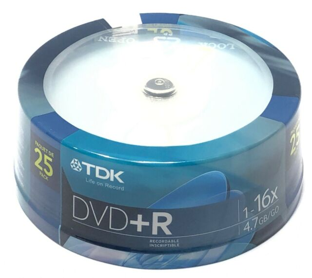TDK DVD-R 1-16x 4.7 Gb/go Factory Sealed 25 Pack Discs