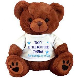 Image Is Loading PERSONALISED BROWN TEDDY BEAR 25CM 10 034 SITTING