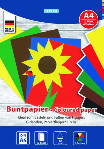 12 feuilles a4 80g//m² Bastelpapier Coloré TONKARTON 6 Couleurs ungummiert on sait que!