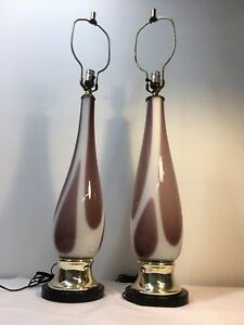 Mid-Century-Modern-Pair-of-Murano-Table-Lamps-Italian-Cased-Art-Glass-MCM
