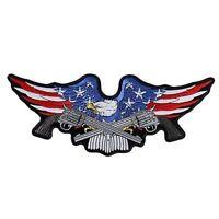 Military Eagle Guns Nra Embroidered Biker Large Mc Club Back Vest Patch Lrg-0556