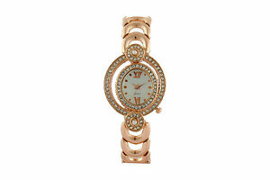 Rose Gold Oval Shape Dial Studded with Diamonds Watch for Women Girls