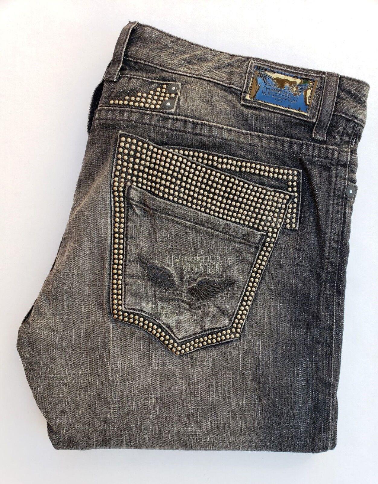 Neu Herren ROTKEHLCHEN Jeans Sz 40 Doppelte Hintere mit Nieten Besetzt Taschen