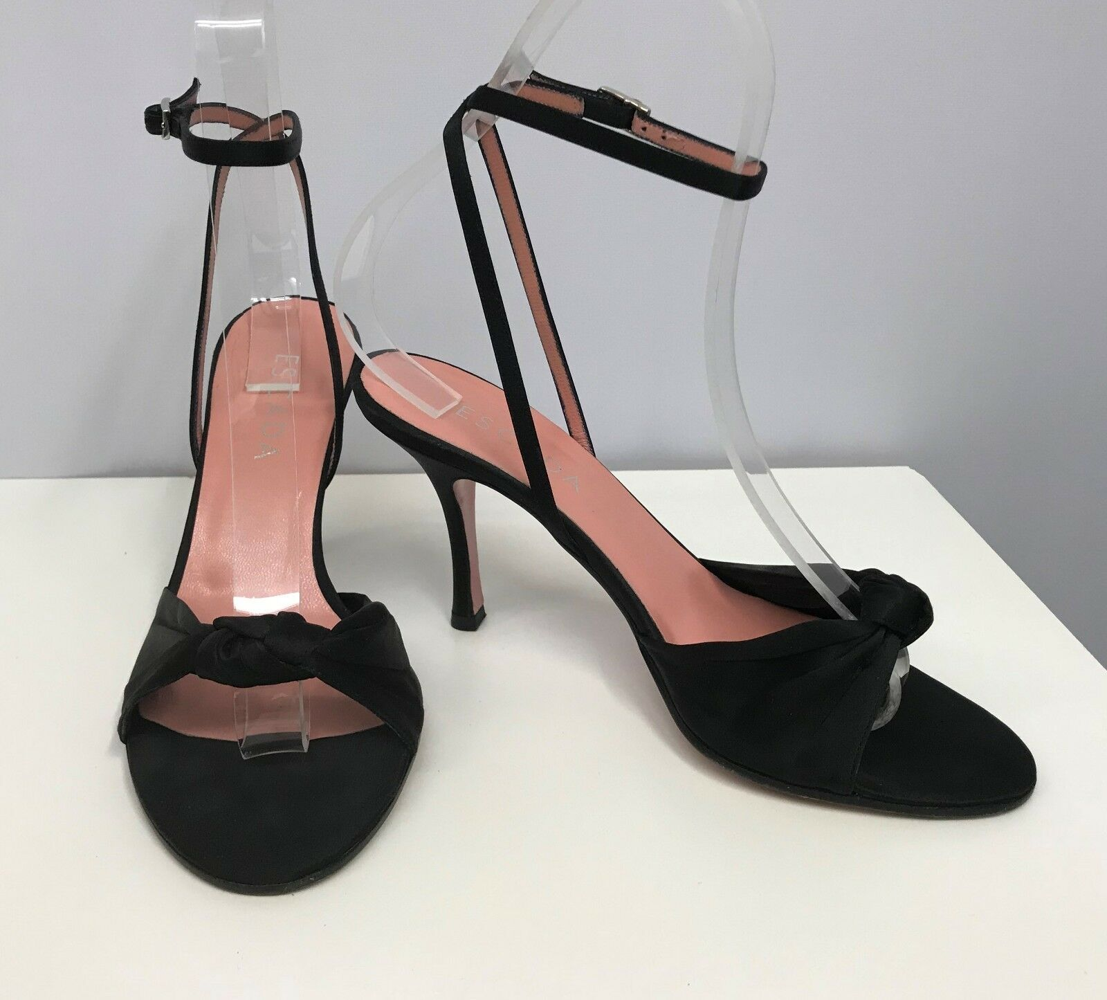 ESCADA SILK EVENING Schuhe BLACK KNOT DESIGN ANKLE STRAP SIZE 38 8