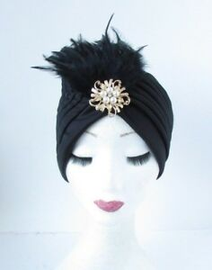 Image is loading Black-Gold-Feather-Turban-Headpiece-Fascinator -1920s-Flapper- d2cc188ee71