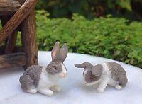 Miniature Dollhouse Fairy Garden Accessories Pair Of Gray & White Rabbits