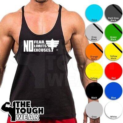 NO FEAR NO LIMITS NO EXCUSES Gym Rabbit T Shirt 6 colors Workout Fitness D179