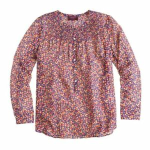 J-CREW-Liberty-Silk-Blend-Popover-In-Eliza-039-s-Flowers-Blouse-Size-4-A5463-Rare