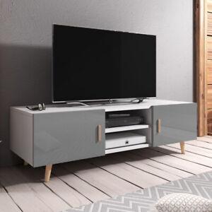 Details Sur Meuble Tv Meuble De Salon Rivano Ii 140 Cm Blanc Gris Chene Sonoma Scandinave